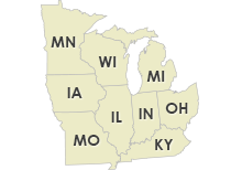Illinois, Indiana, Michigan, Ohio, Kentucky, North Dakota, Minnesota, Iowa, Missouri, Wisconsin